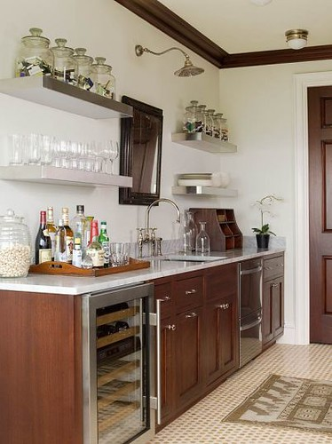 Ideas for the kitchen: open shelves, deep drawers, even a mirror