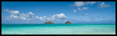 Panoramic Lanikai and the Mokulua's (Scott Sharick) Tags: ocean sky beach island hawaii sand oahu panoramic mok lanikai mokuluaislands mokulua
