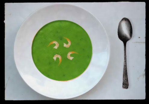 Chilled summer salad soup with prawns
