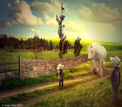 Welcome Home (rubyblossom.) Tags: trees horse brick boys grass stone wall photoshop contest dry fields stile pathway 324 armish medows