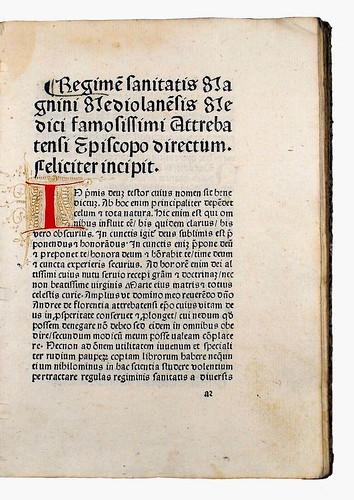 Decorated initial in Magninus Mediolanensis: Regimen sanitatis