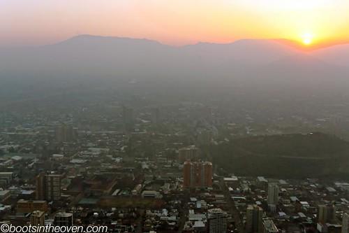 View of Santiago's smog from atop San Cristóbal