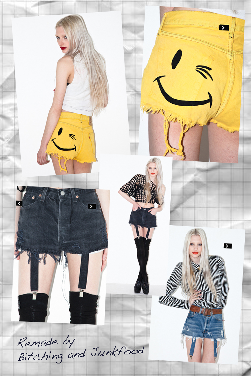 Remade denim shorts by Bitching and Junkfood