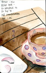 lunch (Vanadisa) Tags: art moleskine cup pencil tea aquarelle journal sketchbook watercolour 2011
