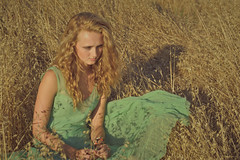 In the Grass (jordangordon) Tags: summer test girl beautiful field grass fashion hair model fashionphotography turquoise wheat july straw fields dreamy aged mermaid seagreen foamgreen