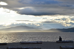 Old man and sea (Roy Cheung Photography) Tags: ocean old sunset sea sky canada man english beach vancouver bay nikon solitude alone loneliness waterfront dusk lonely solitary gaze  lonesome    d7k  d7000