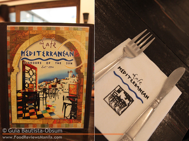 Cafe Mediterranean menu and tissue