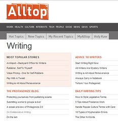 Screenshot of the Writing page on Alltop.com