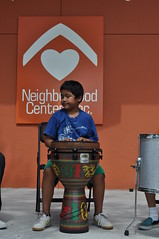 Youth learn Latin Percussion