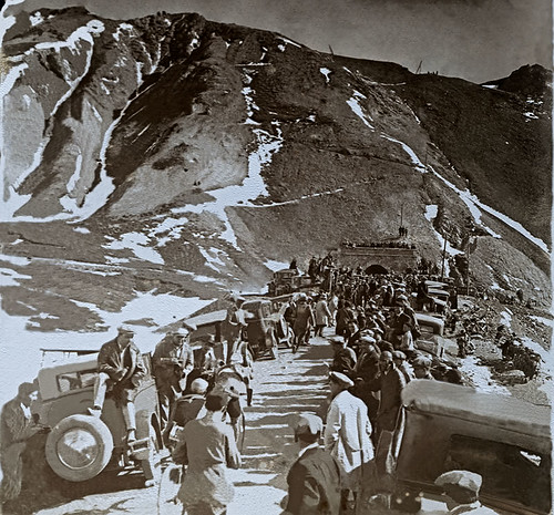 This photo shows the difficult 16th stage of the Tour from 1930, the crowd gathering to cheer the riders on the final metres of the famed 2556m Galibier in the Alps. We believe the riders may be Benoit Faure and Pierre Magne, who won the KOM. Leader Andre Leducq came close to losing the Tour when he fell on the descent, broke his bike and lost 14 minutes. With a replacement bike and his team's help he later regained the leaders, incredibly winning the stage into Evian in a sprint.