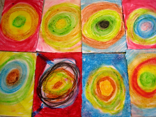 oil pastels Kandinsky inspired art