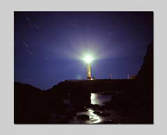 Pigeon Point Starry Night (RZ68) Tags: california lighting light lighthouse house film lamp up night digital work fix lens point for star closed long exposure anniversary pigeon trails photographers gas celebration event velvia cameras repair restore restoration 6x7 lcd beacon provia screens pescadero repairs closure 2010 2011 e100 frensel rz68