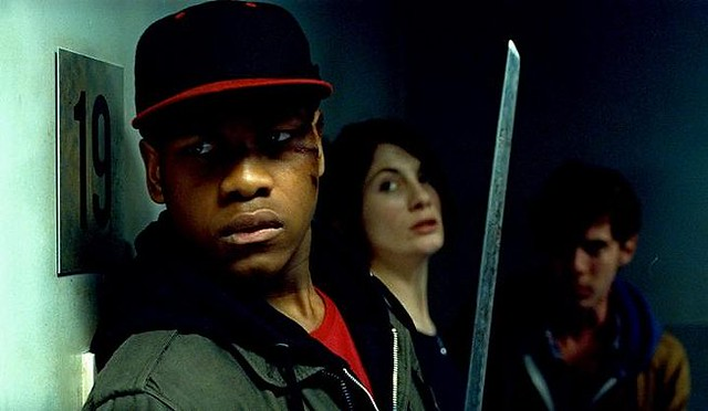 (L-R) John Boyega, Jodie Whittaker and Luke Treadaway defend their low-income South London building in 'Attack the Block'.