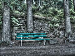 uncomfortable bench (olipennell) Tags: tree wall bench rocks bank schwarzwald blackforest baum hdr steinmauer mummelsee