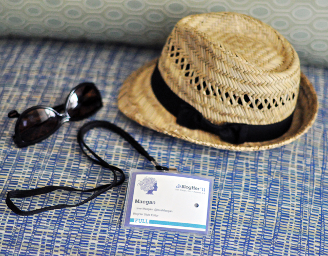 blogher11 conference pass + hat and sunglasses