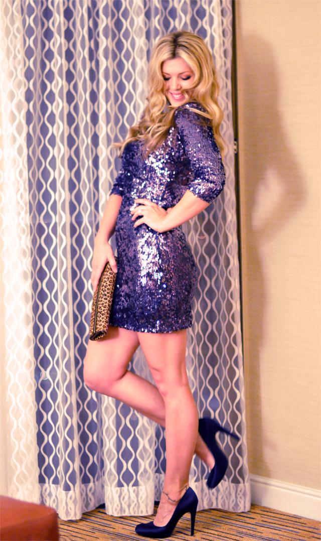 Sparklecorn   blogher11  modcloth  blue sequined dress and satin ferragamo heels