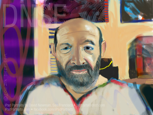First-ever Google Hangout Transcontinental iPad Portrait: Jules Minsky, 29 Years After My First Portrait Of Jules Painted In 1982 on a Via Video System One. by DNSF David Newman