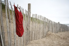 (Lizzie Staley) Tags: red sea summer beach vintage fence seaside sand dunes retro swimsuit bathingsuit