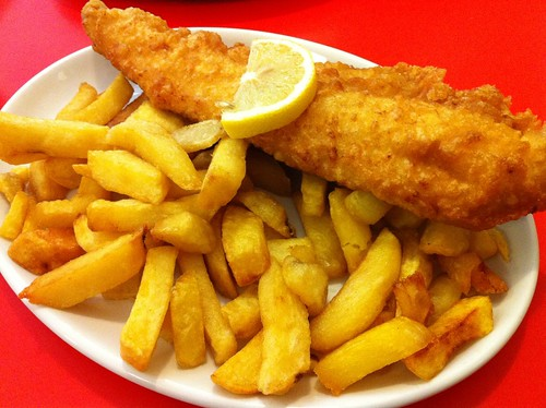 Fried Haddock and Chips at Fryer's Delight