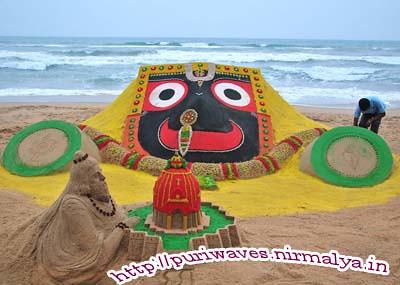 Sand chariot recreated at puri sea beach