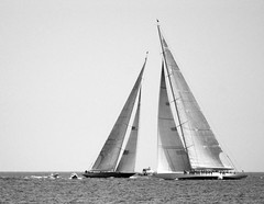 Velsheda and Ranger (posiphotos) Tags: ocean sea blackandwhite bw sailboat boat nikon wind rhodeisland newport sail d200 jboats