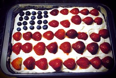 flag cake (ekelly80) Tags: blue red white cake michigan flag strawberries 4thofjuly independenceday blueberries frosting grossepointe flagcake july2011