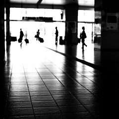 arrivals (StephenCairns) Tags: travel blackandwhite bw reflection station tile glare taxi highcontrast luggage trainstation depart arrive arrival traveling suitcase departures gifu hashima floortile converginglines 30mmsigmaf14 canon50d shinkansenstation hashimastation singaporecharles