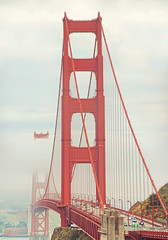 A thirty-five million dollar steel harp (pixelmama) Tags: sanfrancisco california red fog traffic goldengatebridge sausalito vistapoint gettyimages hss twotowers retrotones mortalmuses sliderssunday athirtyfivemilliondollarsteelharp