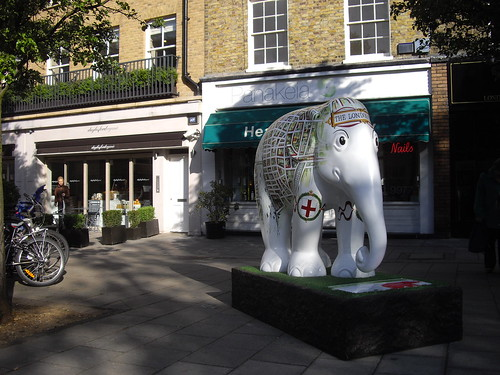 Indian Elephant Sculpture, Orange Square