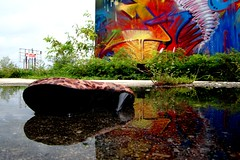 Reflecting Foot Fetish (Burnt Umber) Tags: urban reflection industry shoe graffiti construction paint shoot industrial florida miami steel tag pipes pipe explore vandal vandalism heel tagging ue drainage fashiondistrict urbex dade penat ©allrightsreserved urbanartist penit flurbex rpilla001 rccolafactory