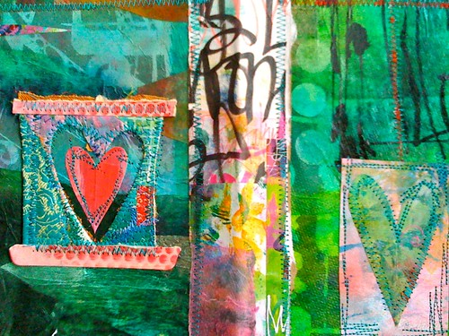 fusion dyed collage stitched hearts