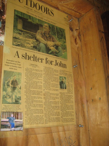 Newspaper clipping at Johns Spring Shelter