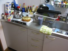 kitchen sink, range, cabinets and spice rack (fisshaasan) Tags: smoothie bananacake kure sunlifebuilding kitchenapartment
