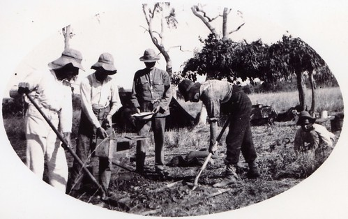 1921  Mixing concrete at the border camp. L to R  C.M. Hambidge, C. A,  Maddern,  M.P. Durack & H.B. Curlewis - KHS-2011-15-07-P2-D