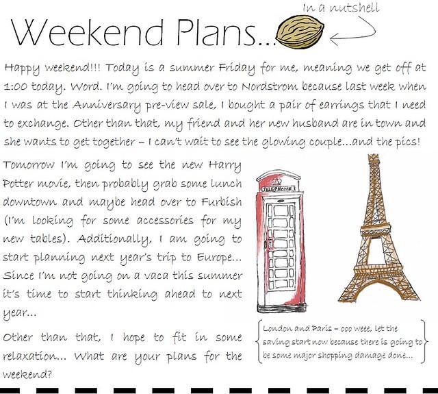 weekend plans 7.15.11