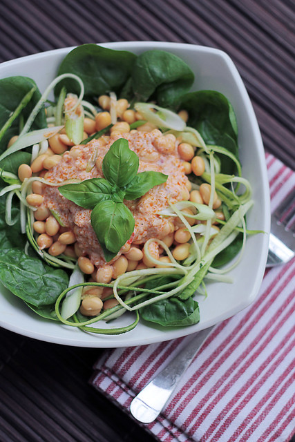 Soya beans, Courgettes and Thai dressing