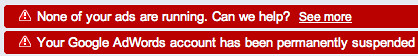 Google AdWords account permanently suspended!