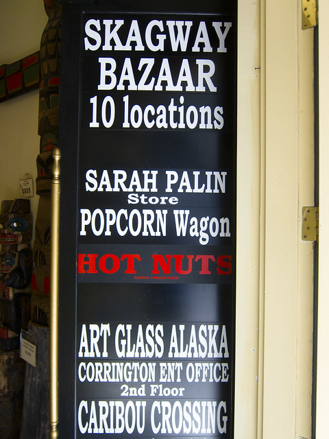 Signage for The Sarah Palin Store in Skagway Alaska