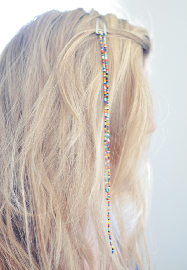 beaded barrettes in long blonde hair