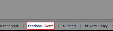 Feedback link in Management Console