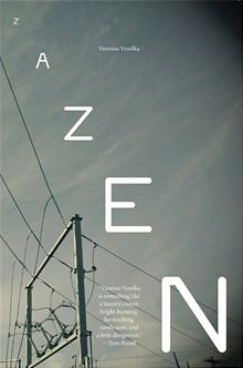 A gray sky is criscrossed with wires. The word ZAZEN is written in bold white letters
