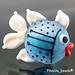 Single Bead : Ivory & Turquoise Fish