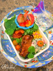 bbq chicken bento (Bentobird) Tags: corn cherries tomatoes coleslaw bbqchicken bentobird whitepeachslices summerbento snowpeatops roastedsweetpotatoslices indigomorningglory