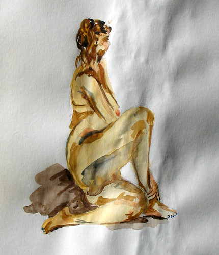 Watercolor of a nude woman in a twisted seated pose