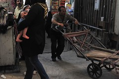 Tehran (Aisling's Photos) Tags: baby trolley headscarf crowd wheels bazaar tehran nikond700