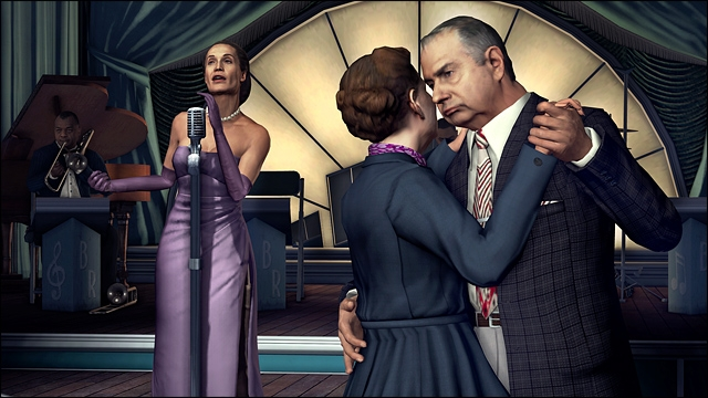 A video game screen shot graphic of an woman and an older man dancing, a woman in an evening gown singing in the background