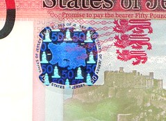 Hologram on Jersey £50 bank note
