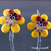 Earring : Ladybug Yellow Flower Blossom