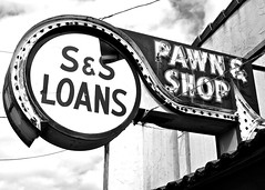 Old pawn-shop sign () Tags: old usa history classic abandoned sign shop architecture america photo washington interesting highway neon nw state pacific image decay empty united ss picture historic nostalgia photograph 99 nostalgic americana sw arrow states lakewood roadside decayed pawn 253 loans