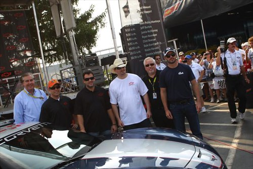 Jeff Belskus, Jamie McMurray, Tony Stewart, a lucky WFMS fan, Jeff Chew, and Jimmie Johnson